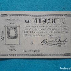 Lotería Nacional: DÉCIMO. SORTEO Nº 3 DE 1895.. Lote 181503281