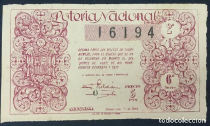 LOTERIA NACIONAL - 1946 - SORTEO 11 (Coleccionismo - Lotería Nacional)