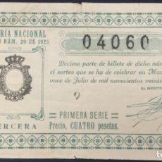 Lotería Nacional: LOTERIA NACIONAL - 1925 SORTEO 20. Lote 181699318