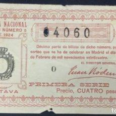Lotería Nacional: LOTERIA NACIONAL - 1924 SORTEO 5. Lote 181703061