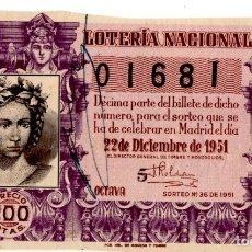 Lotería Nacional: DÉCIMO DE LOTERÍA NACIONAL 22 DICIEMBRE 1951 (SORTEO Nº 36). Lote 182375218