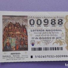 Lotería Nacional: DECIMO DE LOTERIA NUMERO BAJO(00988). Lote 183193811