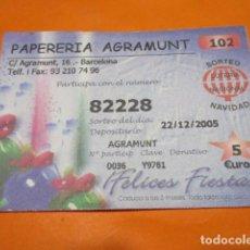 Lotería Nacional: BILLETE CAPICUA 82228 PARTICIPACION PAPERERIA AGRAMUNT 2005. Lote 183710687