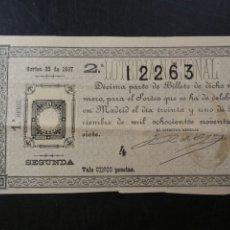 Lotería Nacional: DÉCIMO DE LOTERÍA NACIONAL 31 DE DICIEMBRE DE 1897. Lote 183726066