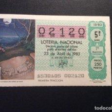 Lotería Nacional: DECIMO LOTERIA CAPICUA 02120 SORTEO 15-1983. Lote 183864771