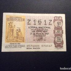 Lotería Nacional: DECIMO LOTERIA CAPICUA 71617 SORTEO 5-1987. Lote 183865352
