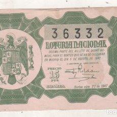 Lotería Nacional: LOTERIA NACIONA, AÑO 1947, SORTEO 22. Lote 183882050