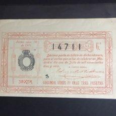 Lotería Nacional: LOTERIA NACIONAL AÑO 1916 SORTEO 18. Lote 183948513