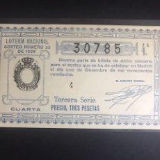 Lotería Nacional: LOTERIA NACIONAL AÑO 1928 SORTEO 33. Lote 183949326