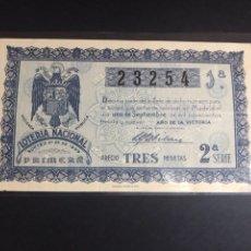 Lotería Nacional: LOTERIA NACIONAL AÑO 1939 SORTEO 25. Lote 183950317