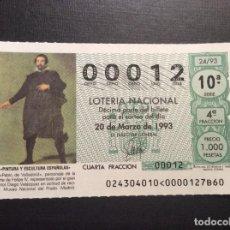 Lotería Nacional: DECIMO LOTERIA Nº BAJO 00012 SORTEO 24-1993. Lote 241141495