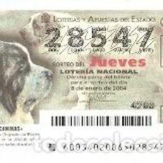 Lotería Nacional: LOTERÍA JUEVES, SORTEO 3 DE 2004. MASTÍN DEL PIRINEO. REF. 10-0403. Lote 184594382