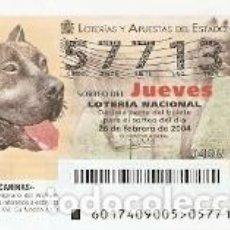 Lotería Nacional: LOTERÍA JUEVES, SORTEO Nº 17 DE 2004. DOGO CANARIO. REF. 10-0417. Lote 184594761