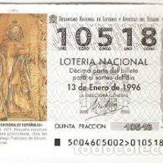 Lotería Nacional: DÉCIMO SORTEO 4-96. SAN MAURO. ORENSE. REF. 9-9604. Lote 184607177