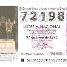 Lotería Nacional: DÉCIMO SORTEO 8-96. SEPULCRO DE COLÓN. SEVILLA. REF. 9-9608. Lote 184607443