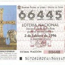 Lotería Nacional: DÉCIMO SORTEO 10-96. CRUZ DE LOS ÁNGELES. OVIEDO. REF. 9-9610. Lote 184607568