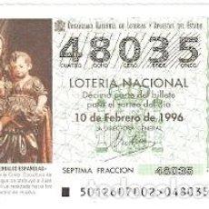 Lotería Nacional: DÉCIMO SORTEO 12-96. NTR. SRA. DE LA CINTA. HUELVA. REF. 9-9612. Lote 184607757