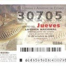 Lotería Nacional: DÉCIMO LOTERÍA JUEVES, SORTEO Nº 83 DE 2005. SEPIA COMÚN. REF. 10-0583. Lote 185843871