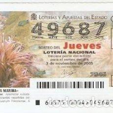 Lotería Nacional: DÉCIMO LOTERÍA JUEVES, SORTEO Nº 87 DE 2005. ANÉMONA DE MAR. REF. 10-0587. Lote 185867281