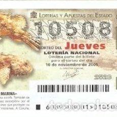 Lotería Nacional: DÉCIMO LOTERÍA JUEVES, SORTEO Nº 89 DE 2005. CABRACHO. REF. 10-0589. Lote 185872978