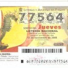 Lotería Nacional: DÉCIMO LOTERÍA JUEVES, SORTEO Nº 91 DE 2005. CABALLITO DE MAR PELUDO. REF. 10-0591. Lote 185873141