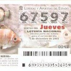 Lotería Nacional: DÉCIMO LOTERÍA JUEVES, SORTEO Nº 95 DE 2005. OCHAVO. REF. 10-0595. Lote 185873343