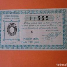 Lotería Nacional: LOTERIA NACIONAL 1 DICIEMBRE 1930 SORTEO 34 NÚM 11555. Lote 186135446