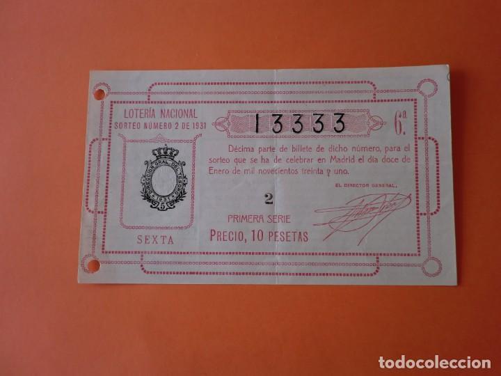LOTERIA NACIONAL 12 ENERO 1931 SORTEO 2 NÚM 13333 (Coleccionismo - Lotería Nacional)