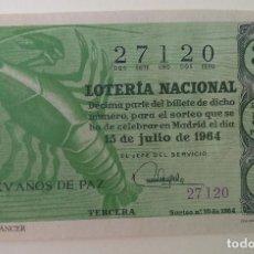 Lotería Nacional: LOTERIA NACIONAL 1964. SORTEO 20. Lote 186151531