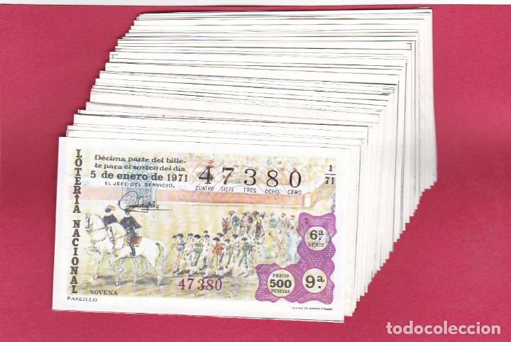 LOTERIA AÑO 1971 COMPLETO 40 DECIMOS AÑO DEDICADO A LOS TOROS (Coleccionismo - Lotería Nacional)