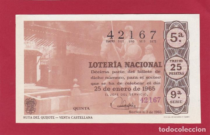 LOTERIA NACIONAL SORTEO 3 DE 1965 RUTA DEL QUIJOTE VENTA CASTELLANA (Coleccionismo - Lotería Nacional)