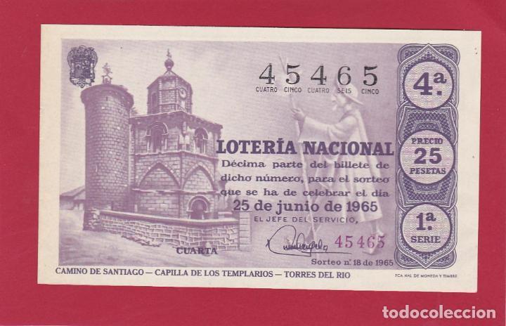 LOTERIA NACIONAL SORTEO 18 CAMINO DE SANTIAGO CAPILLA DE LOS TEMPLARIOS TORRES DEL RIO (Coleccionismo - Lotería Nacional)