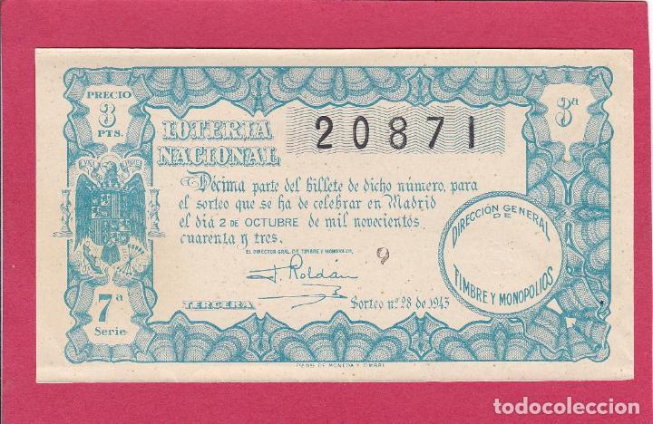 LOTERIA NACIONAL SORTEO 28 DE 1943 (Coleccionismo - Lotería Nacional)
