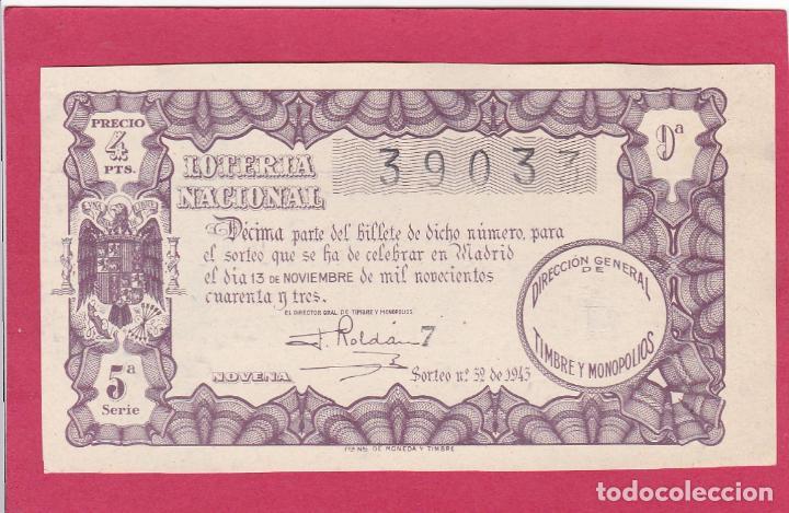 LOTERIA NACIONAL SORTEO 32 DE 1943 (Coleccionismo - Lotería Nacional)