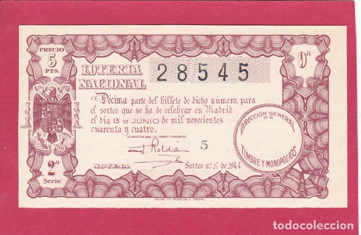 LOTERIA NACIONAL SORTEO 17 DE 1944 (Coleccionismo - Lotería Nacional)