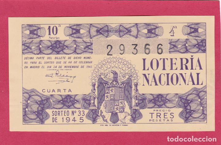 LOTERIA NACIONAL SORTEO 33 DE 1945 (Coleccionismo - Lotería Nacional)
