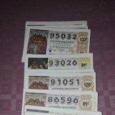Lotería Nacional: 185 DECIMOS DE LOS SABADOS NUMEROS ALTOS.80.000 AL 99.999. Lote 188743533
