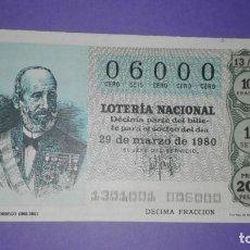 Lotería Nacional: DECIMO DE LOTERIA 06000 (ENTERO). Lote 188769220