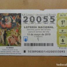 Lotaria Nacional: DECIMO - Nº 20055 - 11 MAYO 2019 - 38/19 - EL BOSCO - EL JARDIN DE LAS DELICIAS - EL PRADO. Lote 189569627