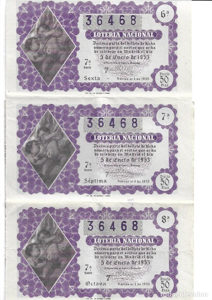 CINCO DÉCIMOS DEL NÚMERO 36468,SORTEO DEL NIÑO,SORTEO 1 DE 1953,ENLAZADOS,ADMÓN 25 DE MADRID (Coleccionismo - Lotería Nacional)