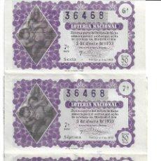 Lotería Nacional: CINCO DÉCIMOS DEL NÚMERO 36468,SORTEO DEL NIÑO,SORTEO 1 DE 1953,ENLAZADOS,ADMÓN 25 DE MADRID. Lote 189787080