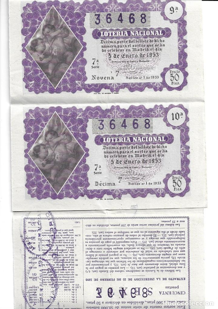 Lotería Nacional: Cinco décimos del número 36468,sorteo del Niño,sorteo 1 de 1953,enlazados,admón 25 de Madrid - Foto 2 - 189787080
