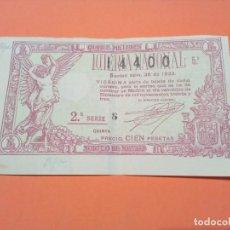 Lotería Nacional: LOTERIA NACIONAL NAVIDAD 22 DICIEMBRE 1933 SORTEO 36 NÚM 14400. Lote 190616518