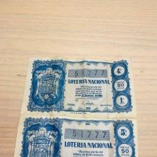 Lotería Nacional: DOS DECIMOS DE LOTERÍA NACIONAL DR 1959 SORTEO Nº10. Lote 190751572