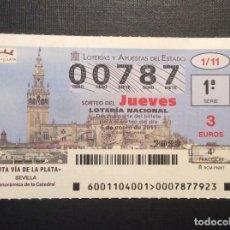 Lotería Nacional: DECIMO LOTERIA 00787 SORTEO 1-2011. Lote 241141605