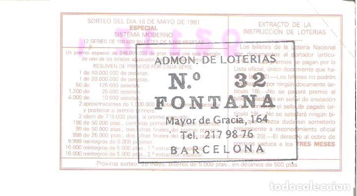 Lotería Nacional: 1 DECIMO LOTERIA DEL SABADO - 18 MAYO 1991 - 20/91 - MARTOS ( JAEN ) ARQUITECTURA ESPAÑOLA - Foto 2 - 190872970