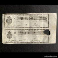 Lotería Nacional: 1851 - LOTERÍA NACIONAL - PAREJA DE DÉCIMOS DE LOTERÍA DE 31 DE MAYO DE 1851- . Lote 190874776