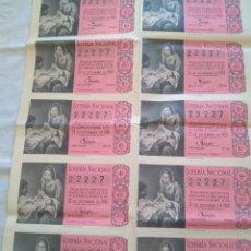 Lotería Nacional: LOTERIA NACIONAL 22 DICIEMBRE 1960 DOS SERIES. Lote 190899945