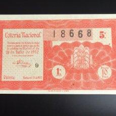 Lotería Nacional: LOTERIA AÑO 1957 SORTEO 21. Lote 190925422