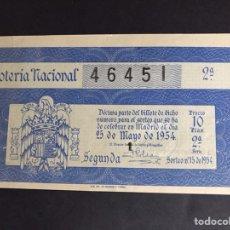 Lotería Nacional: LOTERIA AÑO 1954 SORTEO 15. Lote 191209266